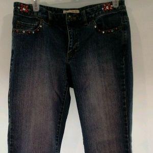 MICHAEL KORS Embellished Beading Bootcut Jeans